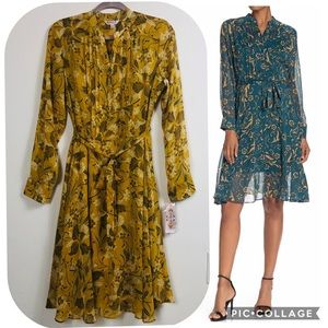 NWT NANETTE LEPORE YELLOW GOLD FLORAL PINTUCK 10
